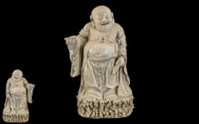 Large Antique Chinese Buddha In Blan-de-cine. Large Design and of High Quality Detail.