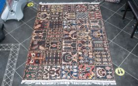 A Genuine Excellent Quality Persian Bakhtiari Carpet/Rug decorated in a traditional Persian panel