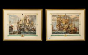 Two Framed and Glazed Naval Prints one of the battle of Trafalgar,