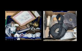 Box Lot of Misc Pottery Items, Brass ware,