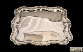 Edwardian Period Excellent Quality Sterling Silver Square Shaped Salver - Tray with Shaped Border