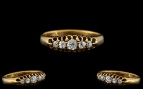 Victorian Period - Attractive 15ct Gold 5 Stone Diamond Ring with Gallery Setting.