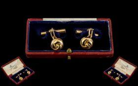 Art Nouveau Superb Pair of 15ct Gold Cufflinks with Original Box. c.1900.