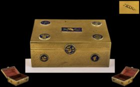 Chinese Brass Cigarette Box with Roundel's Fitted to the Lid with Various Chinese Symbols. c.