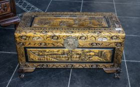 Carved Chinese Camphor Wood Chest,