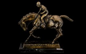 20th Century Bronze After P.J. Meme Depicting a Jockey Riding his Mount of Typical Pose.