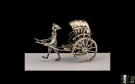 Chinese Sterling Silver Miniature Figure Pulling Rickshaw with Moving Parts. Signer K.W.
