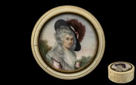French - Early 19th Century Superb Quality - Signed Portrait Miniature on Ivory of A French Noble