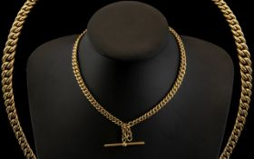 Victorian Period - Superb Quality 9ct Gold Double Albert Chain with T-Bar Clasp.
