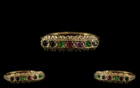Antique Period - Attractive 9ct Gold Multi-Stone Set Ring with A Gallery Setting, Set with Rubies,