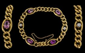 Antique Period - Superb 18ct Gold Diamond and Amethysts Set Bracelet From the Late 19th Century