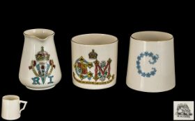 W.H.Goss - Three Pieces of Heraldic Ware Jug with VR Cypher.