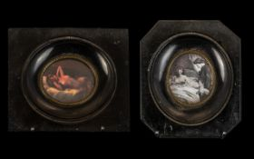 Erotic Pictures in Ebonised Frames, measures 13 cm x 12 cm. Please see accompanying images.