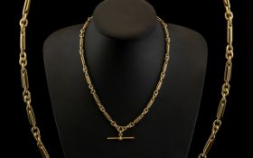 Edwardian Period Superb Quality 9ct Gold Fancy Link Albert Chain of Excellent Design.