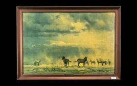 Howard Carter (Egyptologist) Interest: David Shepherd Oleograph of Zebras on the African Plains,