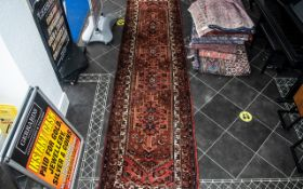 Beautiful Iranian Terracotta Ground Carpet/Rug Hamadon Medallion Design. Label reads Made in Iran.