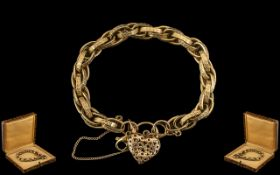 Victorian Period Superb Quality 9ct Gold Ornate / Fancy Link Bracelet with Attached Heart Shaped