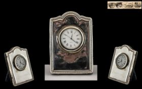 Silver Hallmarked Bedside Clock. Fully Hallmarked for Silver, Velvet Backed. 9 by 7 cms.