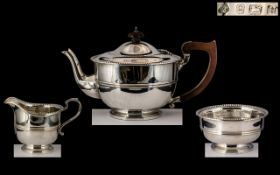 Art Deco Period - Pleasing Quality 3 Piece Sterling Silver Tea Service of Superb Proportions and