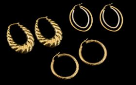 Ladies - Collection of 9ct Gold Hoop Earrings ( 3 ) Pairs In Total.