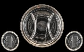 A Top Quality and Pleasing Sterling Silver Rimmed Cut Glass 3 Sectioned Serving Dish of Circular