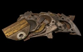 20 Vintage Lace Cutting Machine Blades of Half Moon Shape, stamped Stevenson & Sons, Spowage,