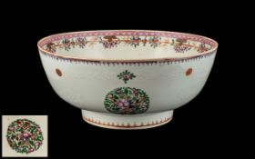 Large Antique Chinese Canton Enamel Decorated Punch Bowl, Finely Decorated In Coloured Enamels,