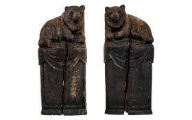 Black Forrest Bookends with Performing Bears Sitting on Large Decorative Plinths.
