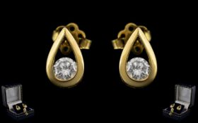 Ladies - Fine Pair of Excellent Quality and Attractive 18ct Yellow Gold Diamond Set Earrings.