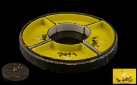 Large Chinese Paper Mache Lidded Box. Containing Yellow Enamel Serving Dishes with Stork