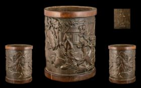 Chinese Antique Bamboo Scholars Brush Pot, Finely Carved to the Body with a Man Riding a Mounted