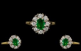 Ladies 18ct Gold - Attractive Emerald and Diamond Set Cluster Ring - Flower head Setting.