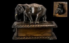 Black Forrest Late 19th Century Large and Impressive Carved Wooden Rectangular Shaped Box,