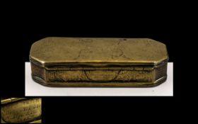 Early 18th Century Brass Dutch Tobacco Lidded Box.