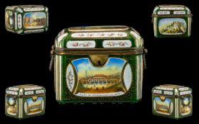 A Fine Quality Antique Venitian Green Glass Trinket Lidded Box,