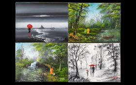Set of ( 4 ) Modern Oil Paintings on Canvas ( Unframed ) Depicting River Landscapes with Figures
