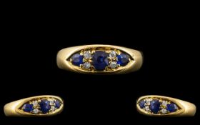 Edwardian Period 18ct Gold - Attractive Sapphire and Diamond Ring.