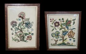 A Pair of Framed and Glazed Edwardian Ladies Needle worked Tapestry Floral Decorated Panels,