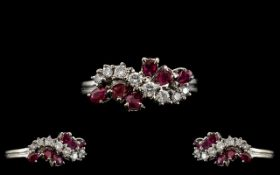 Ladies - Retro 1970's Attractive 18ct White Gold Ruby and Diamond Set Dress Ring,