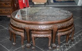 Chinese Carved Hardwood Nest Of Tables, Oval Shaped,