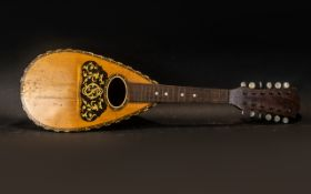 Italian Antique Mandolin with an Inlaid Rosewood Case with Ivory Inserts - without strings and