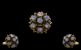 18ct Yellow Gold - Attractive Opal and Sapphire Set Dress Ring - Of Large Proportions In Flower