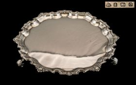 George V - Early Period Fine Quality Sterling Silver Circular Footed Tray with Ornate Shaped Border,