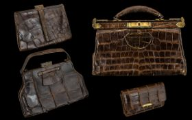 Three - 1920's Ladies Handbags / Purse. Made of Crocodile Skin with Silk Interiors ( 4 ) In Total.