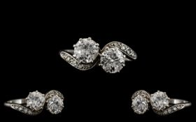 Art Deco Period - 18ct White Gold and Platinum Set Superb Two Stone Diamond Ring. c.1930.