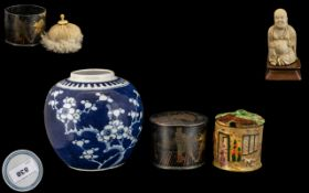 Collection of Chinese Items. Ginger Jar with Double Circle to Base, Paper Mache Pot with Warrior