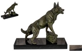 L. Carvin Art Deco Sculpture of Dog on Marble Base large French art deco dog, signed on marble 'L,