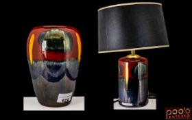 Two Modern Poole Abstract Glazed Vases one converted into a lamp.