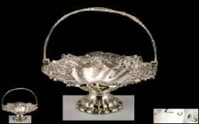 Early Victorian Period Superb Sterling Silver Swing Handle Ornate Shaped Fruit Basket with Pierced