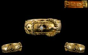 Victorian Period - Superb Gentleman's 18ct Gold Diamond Set Buckle Ring.